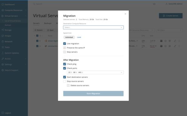Virtual server migration