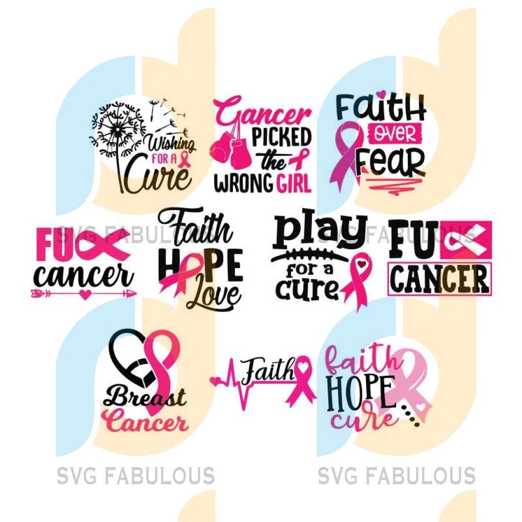 Breast Cancer Bundle Svg, Cancer Awareness Svg