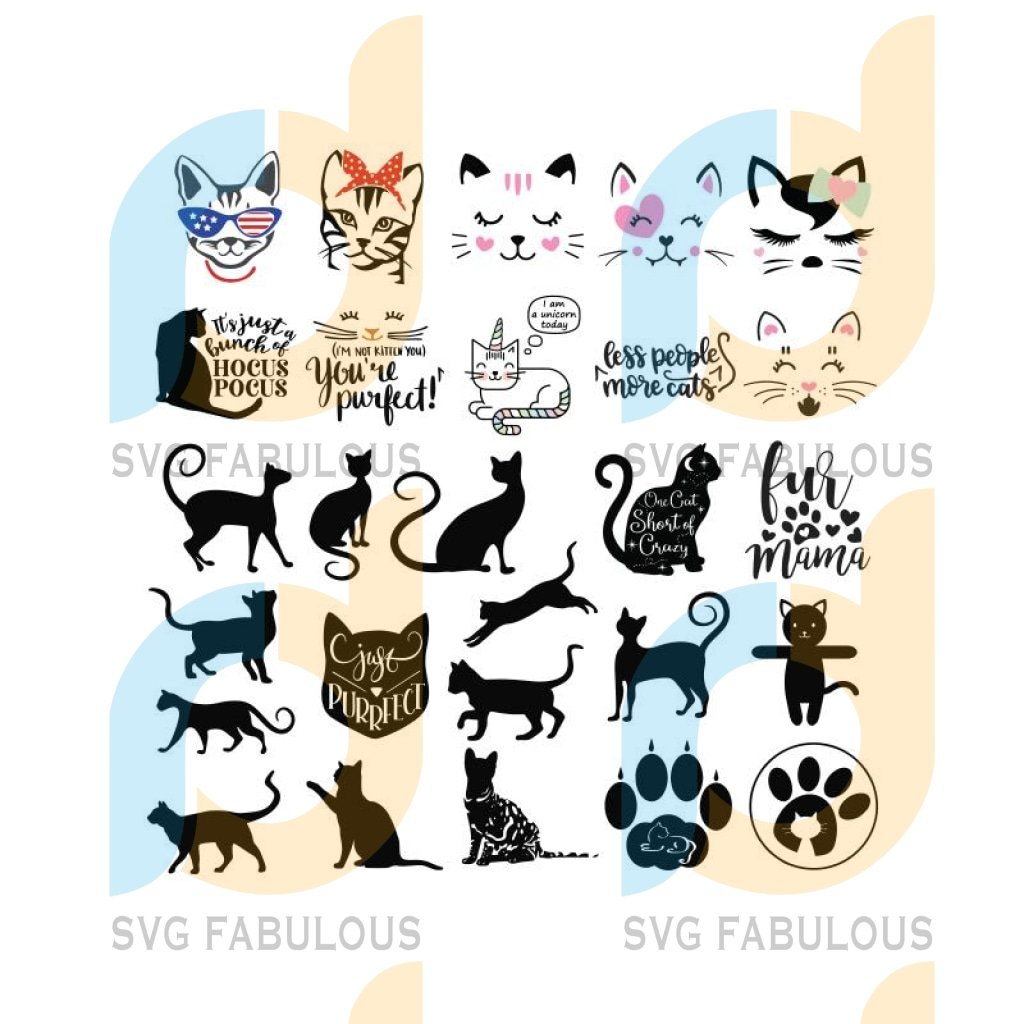 Pups And Purrs Cats Svg, Cats Svg, Bundle, Cricut File, Clipart, Silhouette, Funny Dogs, Animal Svg