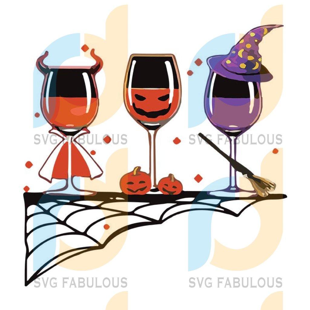 Halloween Red Wine Glass Pumpkin Devil Witch Cute Svg Wine Glass,Wine Glass svg, Wine Glass png