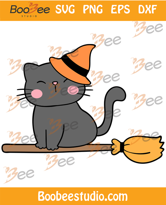 Cute Cat Wearing Witch Hat Svg, Halloween Svg, Cute Cat Svg